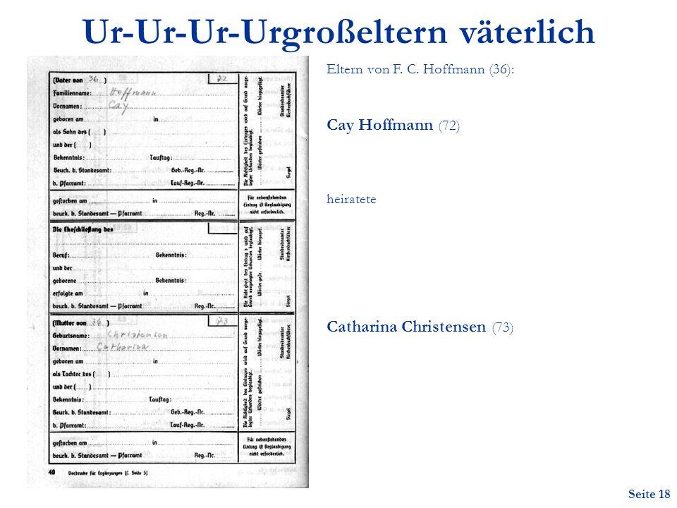 Seite 18 Ur-Ur-Ur-Urgroßeltern väterlich Eltern von F.