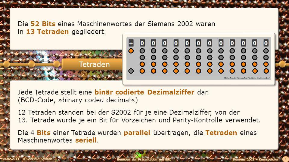 Die 52 Bits eines Maschinenwortes der Siemens 2002 waren in 13 Tetraden gegliedert. 04.02.2011© Gabriele Sowada 4 Jede Tetrade stellt eine binär codie