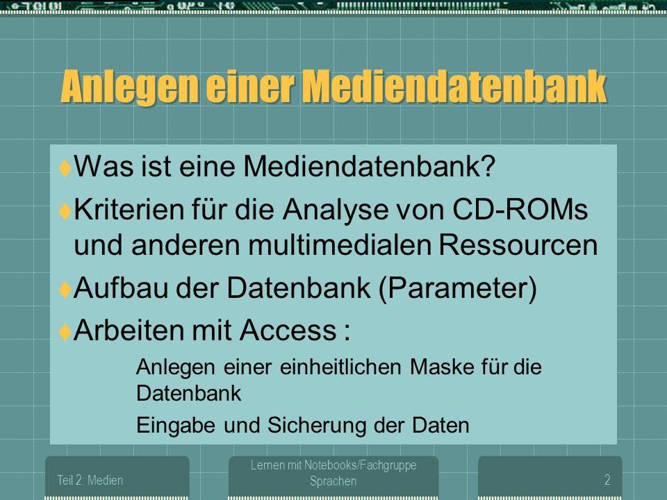 Teil 2: Medien Lernen mit Notebooks/Fachgruppe Sprachen2 Anlegen einer Mediendatenbank Was ist eine Mediendatenbank.