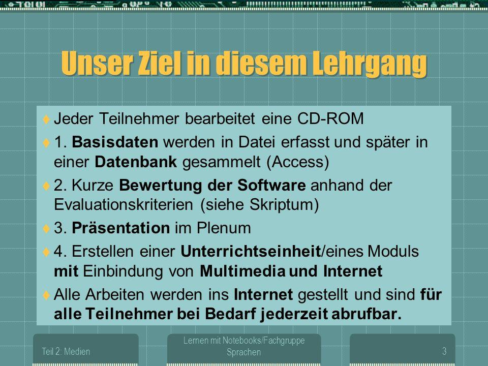 Teil 2: Medien Lernen mit Notebooks/Fachgruppe Sprachen3 Unser Ziel in diesem Lehrgang Jeder Teilnehmer bearbeitet eine CD-ROM 1.