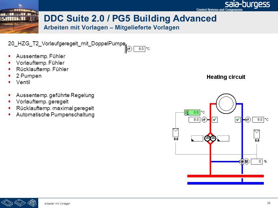39 Arbeiten mit Vorlagen DDC Suite 2.0 / PG5 Building Advanced Arbeiten mit Vorlagen – Mitgelieferte Vorlagen 20_HZG_T2_Vorlaufgeregelt_mit_DoppelPump