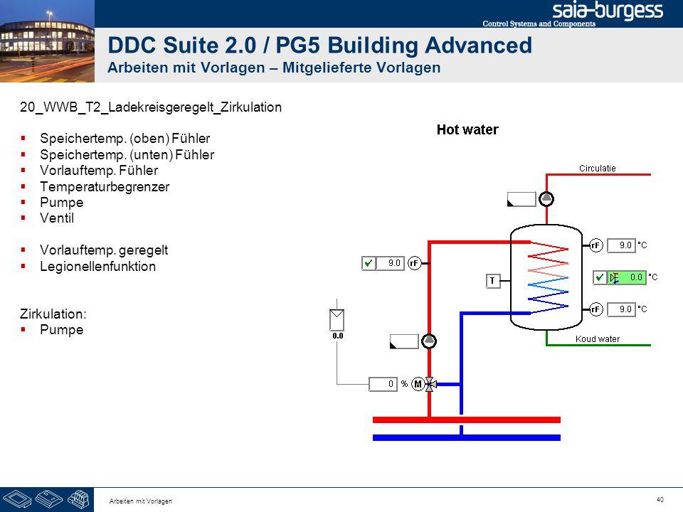 40 Arbeiten mit Vorlagen DDC Suite 2.0 / PG5 Building Advanced Arbeiten mit Vorlagen – Mitgelieferte Vorlagen 20_WWB_T2_Ladekreisgeregelt_Zirkulation
