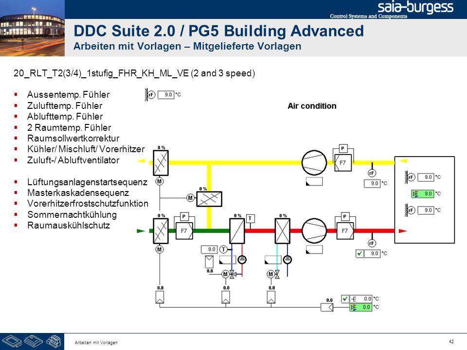42 Arbeiten mit Vorlagen DDC Suite 2.0 / PG5 Building Advanced Arbeiten mit Vorlagen – Mitgelieferte Vorlagen 20_RLT_T2(3/4)_1stufig_FHR_KH_ML_VE (2 a