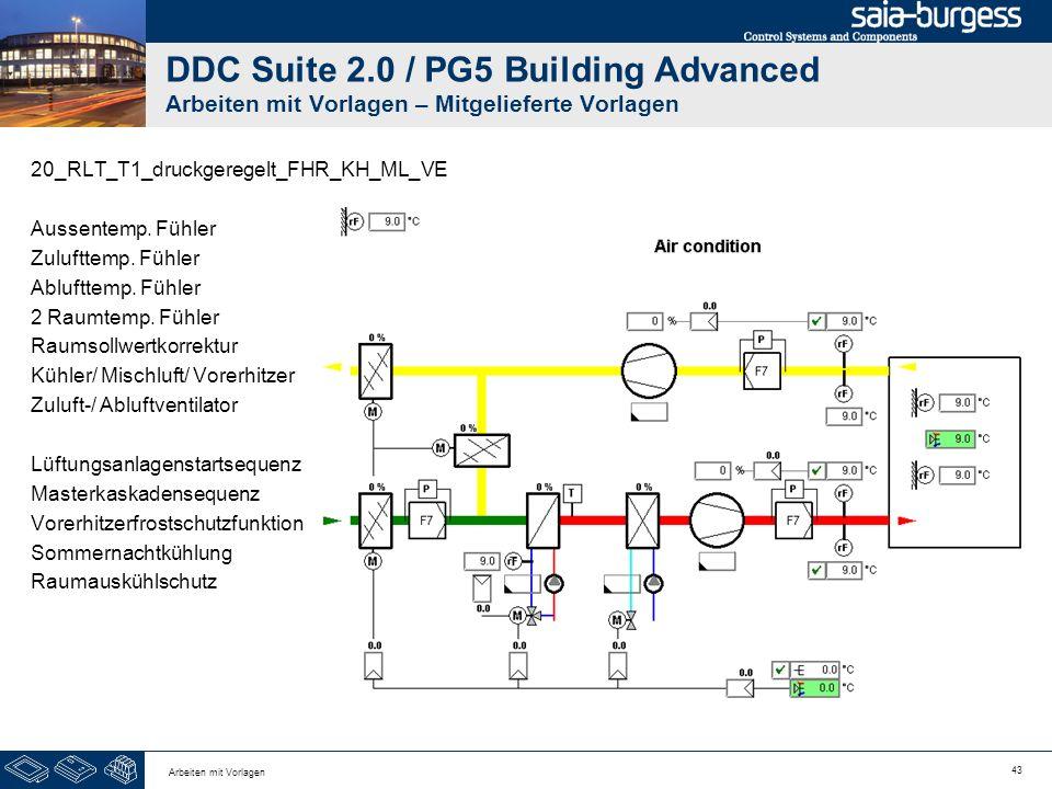 43 Arbeiten mit Vorlagen DDC Suite 2.0 / PG5 Building Advanced Arbeiten mit Vorlagen – Mitgelieferte Vorlagen 20_RLT_T1_druckgeregelt_FHR_KH_ML_VE Aus