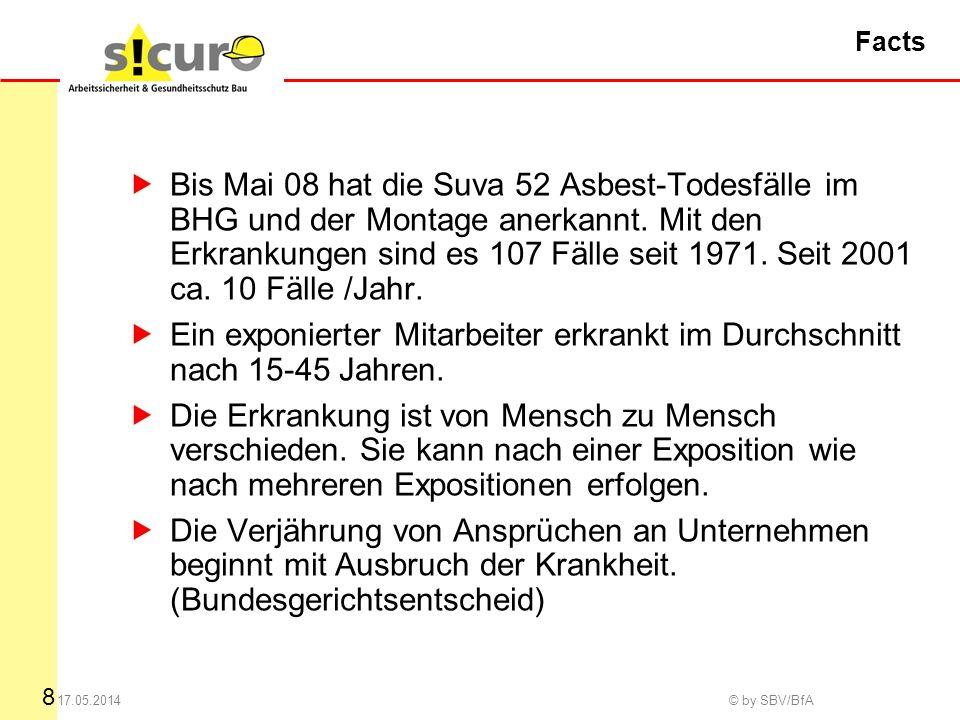 8 17.05.2014 © by SBV/BfA Facts Bis Mai 08 hat die Suva 52 Asbest-Todesfälle im BHG und der Montage anerkannt.