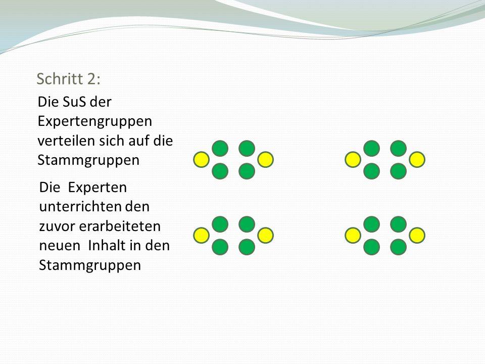 Schritt 2: Die SuS der Expertengruppen verteilen sich auf die Stammgruppen Die Experten unterrichten den zuvor erarbeiteten neuen Inhalt in den Stammg