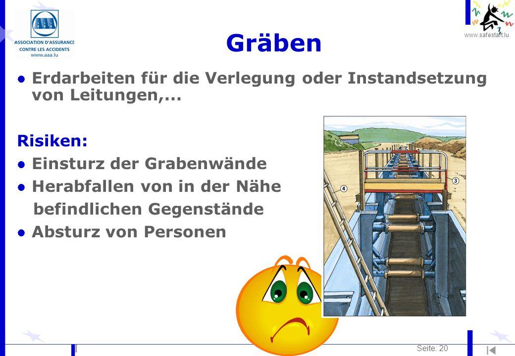 www.safestart.lu Seite: 20 Gräben l Erdarbeiten für die Verlegung oder Instandsetzung von Leitungen,... Risiken: l Einsturz der Grabenwände l Herabfal