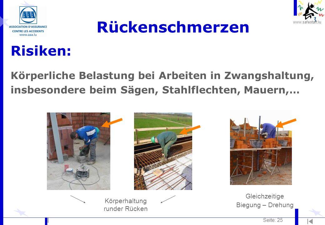 www.safestart.lu Seite: 25 Rückenschmerzen Risiken: Körperliche Belastung bei Arbeiten in Zwangshaltung, insbesondere beim Sägen, Stahlflechten, Mauer
