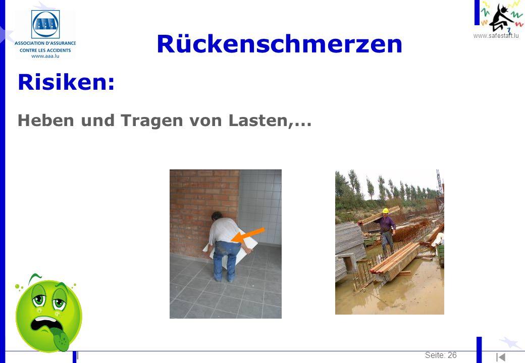 www.safestart.lu Seite: 26 Rückenschmerzen Risiken: Heben und Tragen von Lasten,...