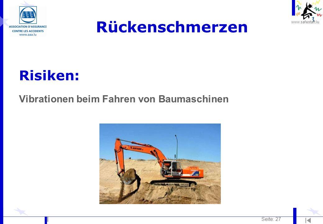www.safestart.lu Seite: 27 Rückenschmerzen Risiken: Vibrationen beim Fahren von Baumaschinen