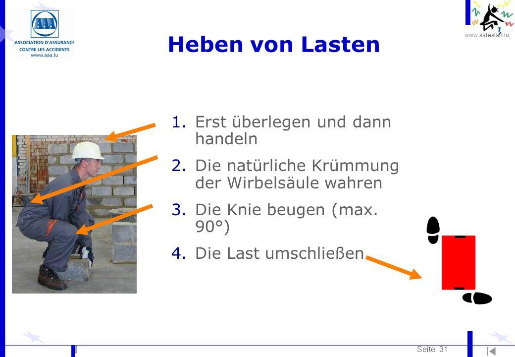 www.safestart.lu Seite: 31 1.Erst überlegen und dann handeln 2.Die natürliche Krümmung der Wirbelsäule wahren 3.Die Knie beugen (max. 90°) 4.Die Last