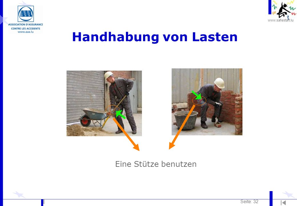 www.safestart.lu Seite: 32 Handhabung von Lasten Eine Stütze benutzen c c