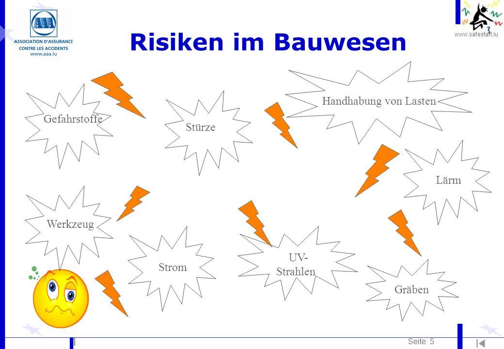 www.safestart.lu Seite: 5 Risiken im Bauwesen Stürze Lärm UV- Strahlen Gefahrstoffe Werkzeug Handhabung von Lasten Strom Gräben