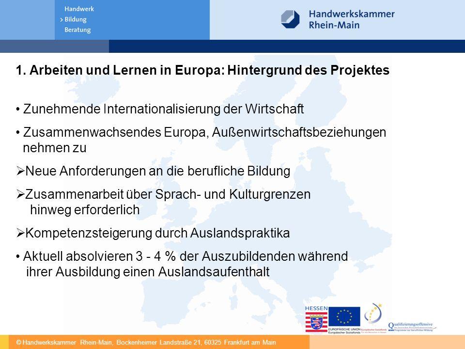 © Handwerkskammer Rhein-Main, Bockenheimer Landstraße 21, 60325 Frankfurt am Main 1. Arbeiten und Lernen in Europa: Hintergrund des Projektes Zunehmen