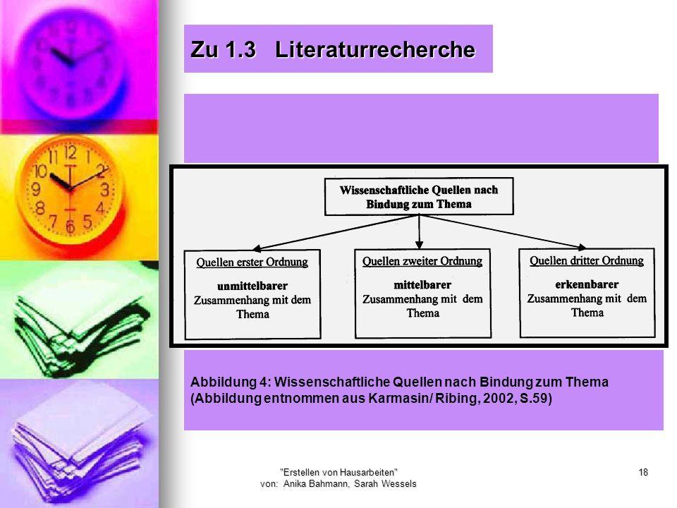 Erstellen von Hausarbeiten von: Anika Bahmann, Sarah Wessels 18 Zu 1.3 Literaturrecherche Abbildung 4: Wissenschaftliche Quellen nach Bindung zum Thema (Abbildung entnommen aus Karmasin/ Ribing, 2002, S.59)