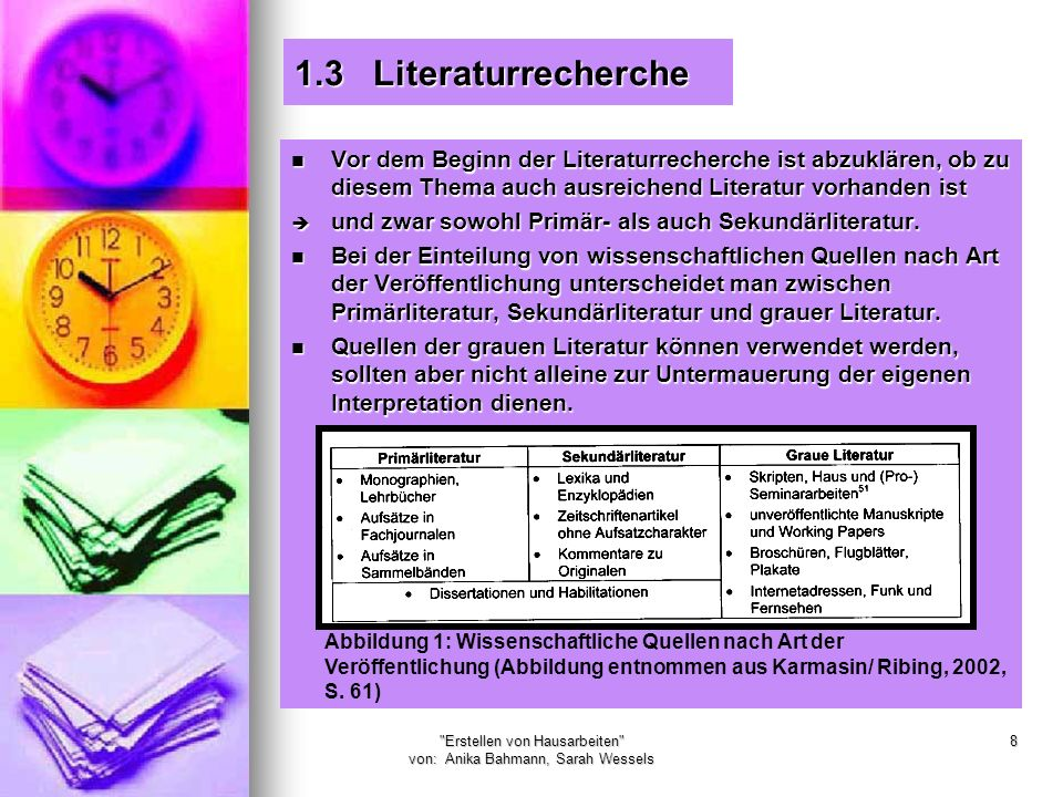 Erstellen von Hausarbeiten von: Anika Bahmann, Sarah Wessels 49 Zu 2.8 Literaturverzeichnis Die Literaturangaben im Verzeichnis müssen alphabetisch nach den Namen der Autoren geordnet sein.