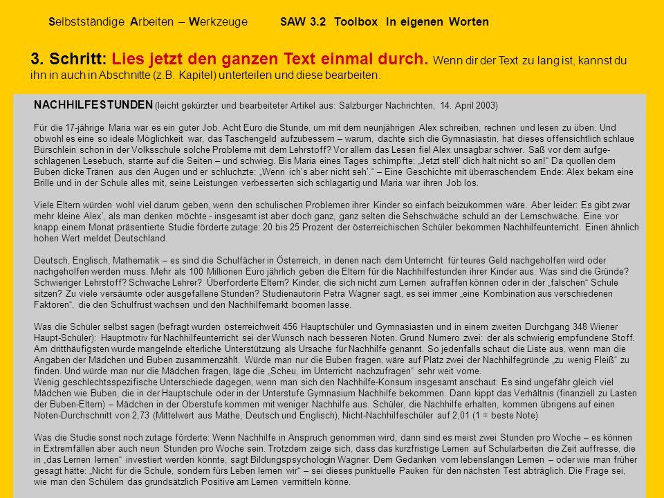 Selbstständige Arbeiten – Werkzeuge SAW 3.2 Toolbox In eigenen Worten © schulverlag 2006 Version 13.9.06 NACHHILFESTUNDEN (leicht gekürzter und bearbe