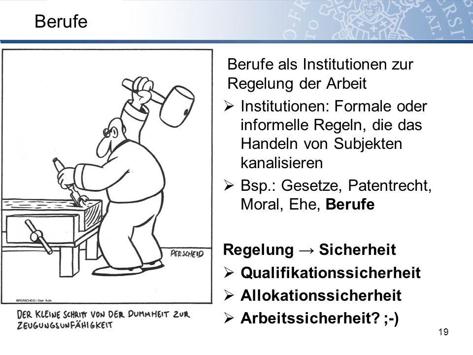Berufe als Institutionen zur Regelung der Arbeit Institutionen: Formale oder informelle Regeln, die das Handeln von Subjekten kanalisieren Bsp.: Geset