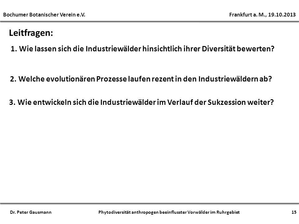 Leitfragen: 1. Wie lassen sich die Industriewälder hinsichtlich ihrer Diversität bewerten? 2. Welche evolutionären Prozesse laufen rezent in den Indus
