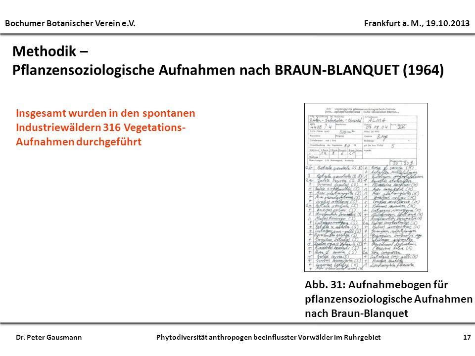 Methodik – Pflanzensoziologische Aufnahmen nach BRAUN-BLANQUET (1964) Abb. 31: Aufnahmebogen für pflanzensoziologische Aufnahmen nach Braun-Blanquet I