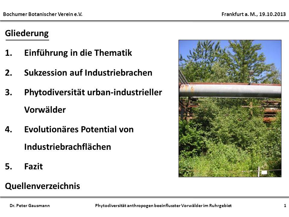 Gliederung 1.Einführung in die Thematik 2.Sukzession auf Industriebrachen 3.Phytodiversität urban-industrieller Vorwälder 4.Evolutionäres Potential vo