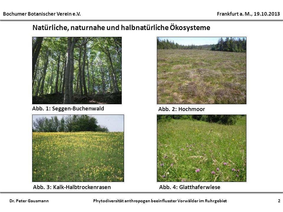Natürliche, naturnahe und halbnatürliche Ökosysteme Abb. 1: Seggen-Buchenwald Abb. 2: Hochmoor Abb. 3: Kalk-HalbtrockenrasenAbb. 4: Glatthaferwiese Bo