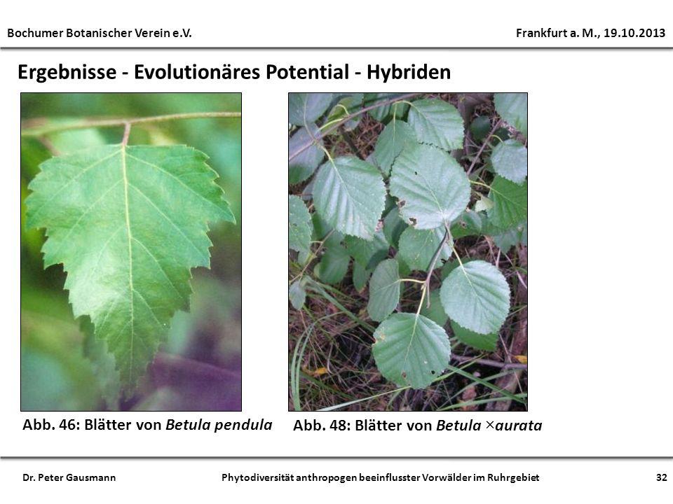 Ergebnisse - Evolutionäres Potential - Hybriden Bochumer Botanischer Verein e.V. Frankfurt a. M., 19.10.2013 Dr. Peter Gausmann Phytodiversität anthro