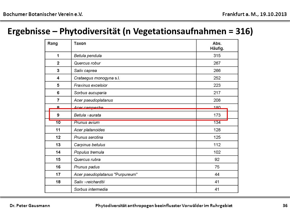 Ergebnisse – Phytodiversität (n Vegetationsaufnahmen = 316) Bochumer Botanischer Verein e.V. Frankfurt a. M., 19.10.2013 Dr. Peter Gausmann Phytodiver