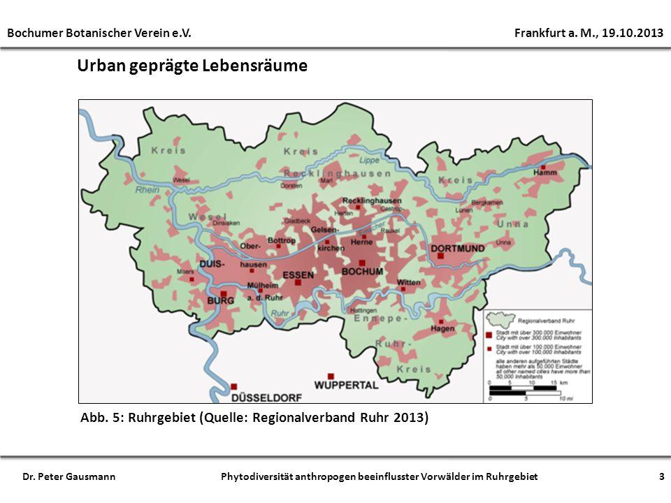 Urban geprägte Lebensräume Bochumer Botanischer Verein e.V. Frankfurt a. M., 19.10.2013 3Dr. Peter Gausmann Phytodiversität anthropogen beeinflusster