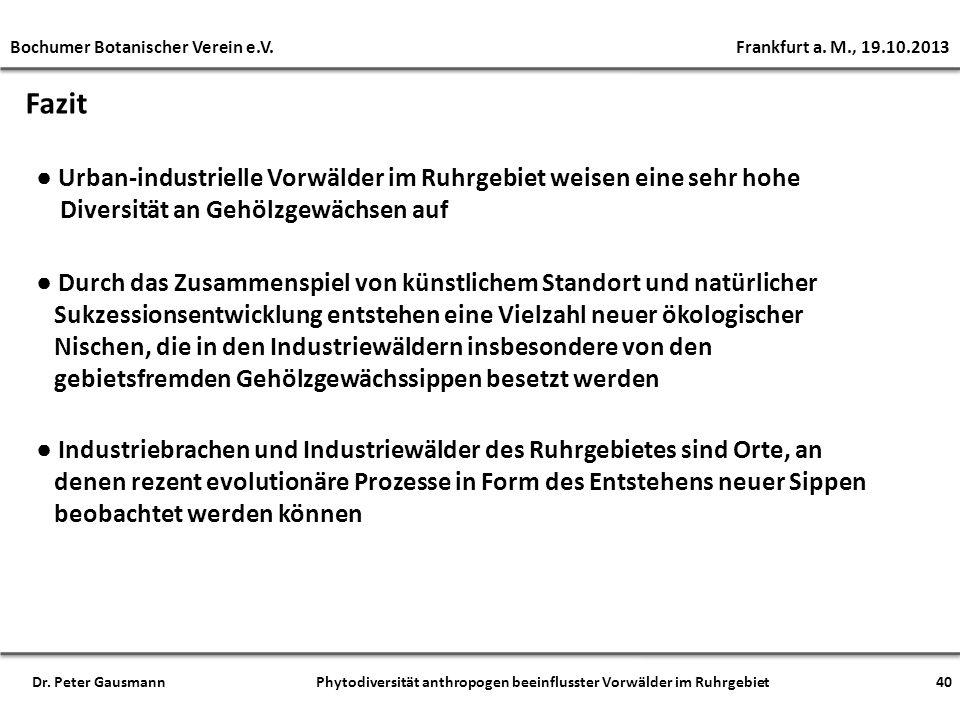 Fazit Urban-industrielle Vorwälder im Ruhrgebiet weisen eine sehr hohe Diversität an Gehölzgewächsen auf Industriebrachen und Industriewälder des Ruhr