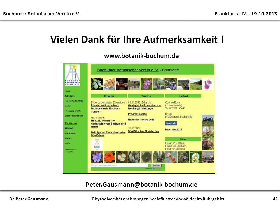 Vielen Dank für Ihre Aufmerksamkeit ! www.botanik-bochum.de Peter.Gausmann@botanik-bochum.de Bochumer Botanischer Verein e.V. Frankfurt a. M., 19.10.2