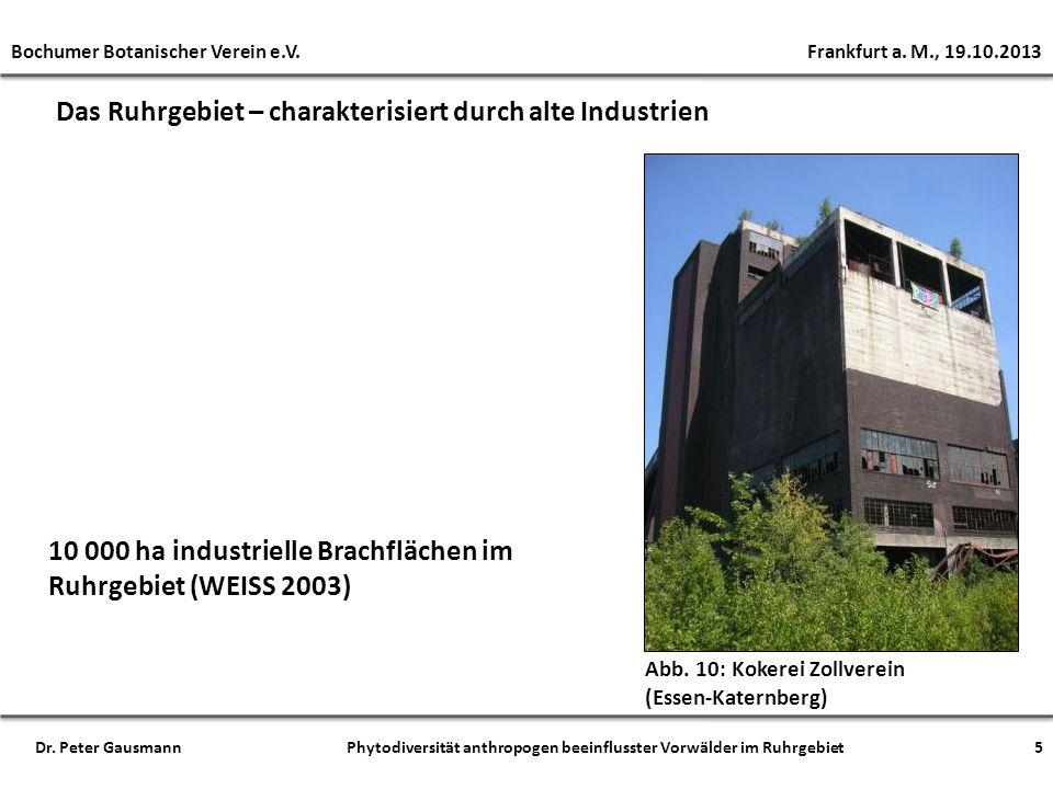 Das Ruhrgebiet – charakterisiert durch alte Industrien Abb. 10: Kokerei Zollverein (Essen-Katernberg) 10 000 ha industrielle Brachflächen im Ruhrgebie