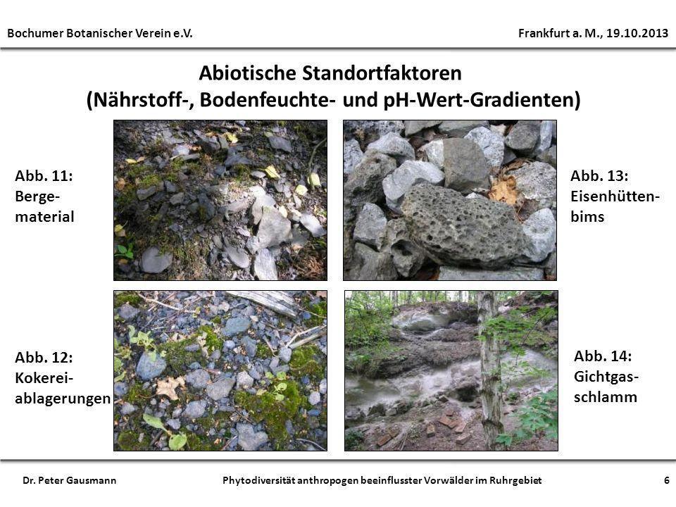 Abb. 11: Berge- material Abb. 12: Kokerei- ablagerungen Abb. 13: Eisenhütten- bims Abb. 14: Gichtgas- schlamm Abiotische Standortfaktoren (Nährstoff-,