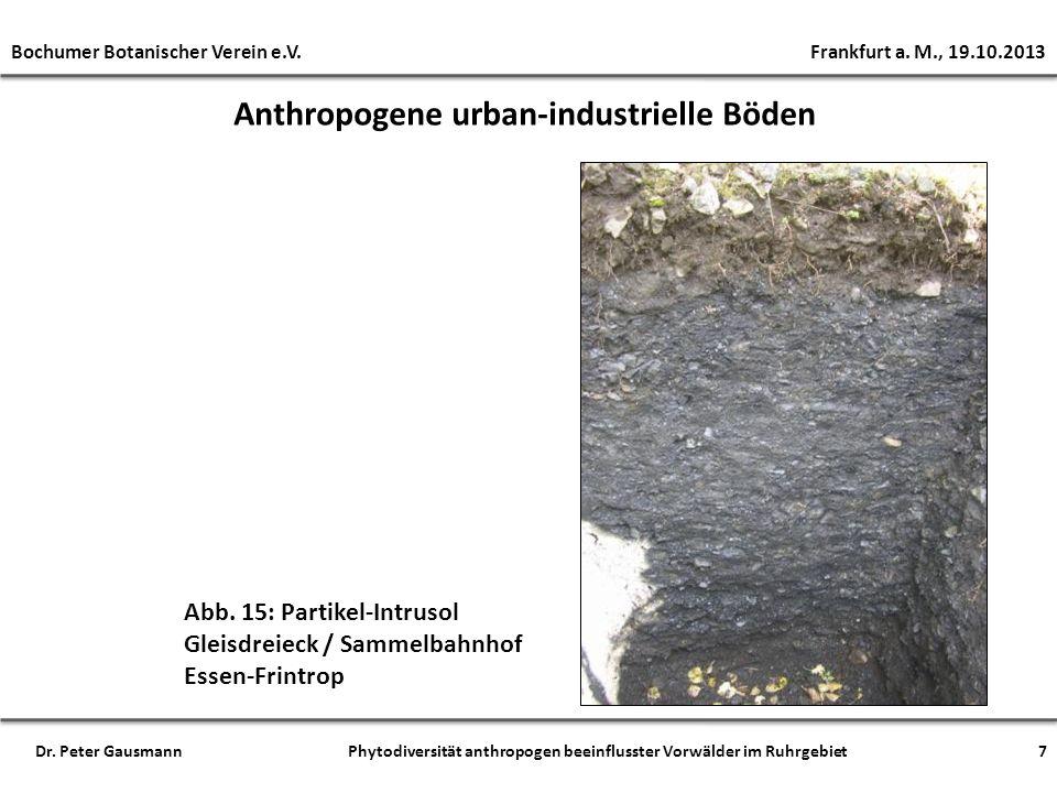 Anthropogene urban-industrielle Böden Abb. 15: Partikel-Intrusol Gleisdreieck / Sammelbahnhof Essen-Frintrop Bochumer Botanischer Verein e.V. Frankfur