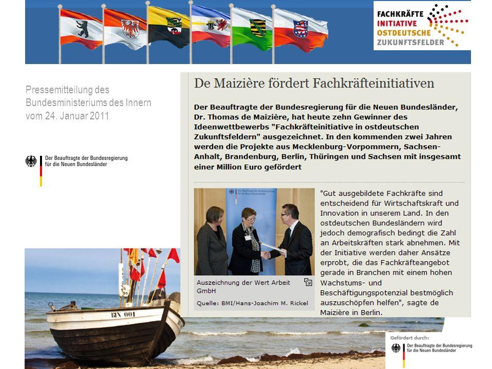 2 © BdW gGmbH, Hasenwinkel, 20. Januar 2011 Pressemitteilung des Bundesministeriums des Innern vom 24. Januar 2011