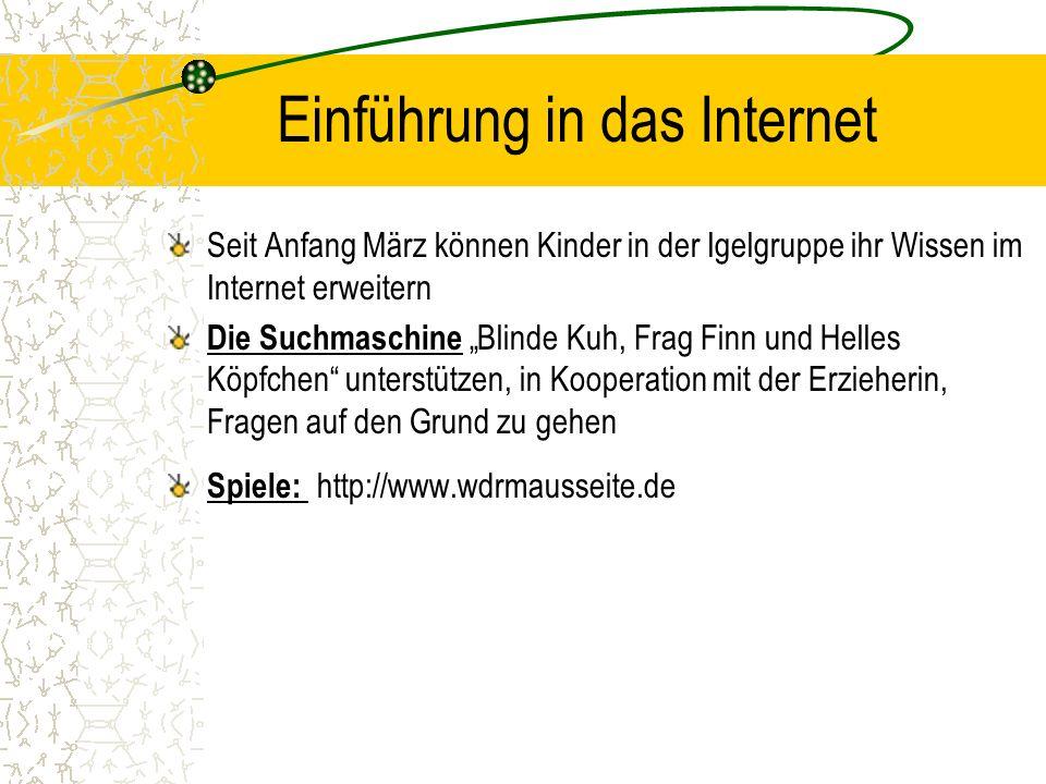 Einführung in das Internet Seit Anfang März können Kinder in der Igelgruppe ihr Wissen im Internet erweitern Die Suchmaschine Blinde Kuh, Frag Finn un