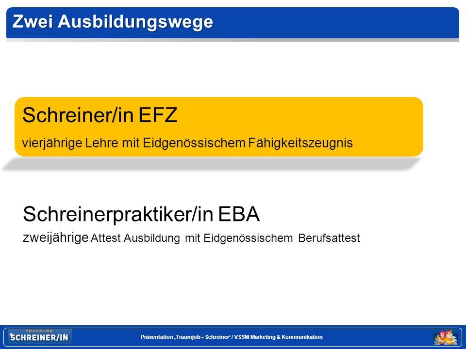 Seite 26 Präsentation Traumjob – Schreiner / VSSM Marketing & Kommunikation Und nun.