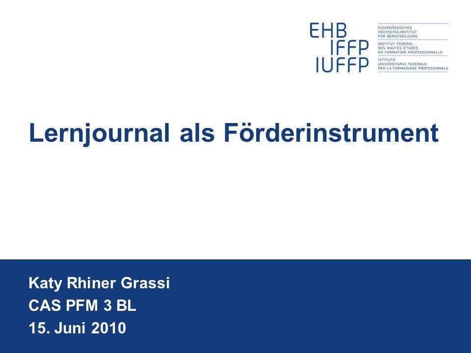 Lernjournal als Förderinstrument Katy Rhiner Grassi CAS PFM 3 BL 15. Juni 2010