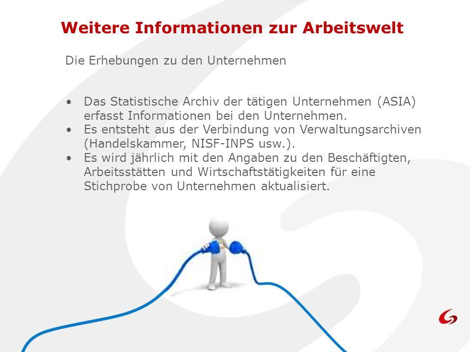 Die Erhebungen zu den Unternehmen Das Statistische Archiv der tätigen Unternehmen (ASIA) erfasst Informationen bei den Unternehmen.