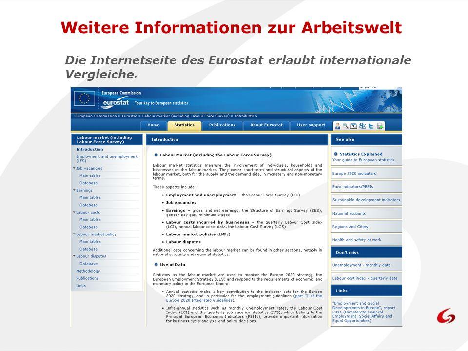 Die Internetseite des Eurostat erlaubt internationale Vergleiche.