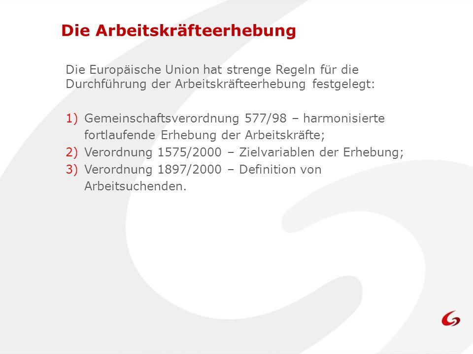 Die Europäische Union hat strenge Regeln für die Durchführung der Arbeitskräfteerhebung festgelegt: 1)Gemeinschaftsverordnung 577/98 – harmonisierte fortlaufende Erhebung der Arbeitskräfte; 2)Verordnung 1575/2000 – Zielvariablen der Erhebung; 3)Verordnung 1897/2000 – Definition von Arbeitsuchenden.