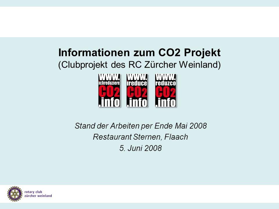 Gesamtprojekt Klimaschutz Informationen zum Stand der Arbeiten per Ende Mai 2008 Informationen zum CO2 Projekt (Clubprojekt des RC Zürcher Weinland) Stand der Arbeiten per Ende Mai 2008 Restaurant Sternen, Flaach 5.
