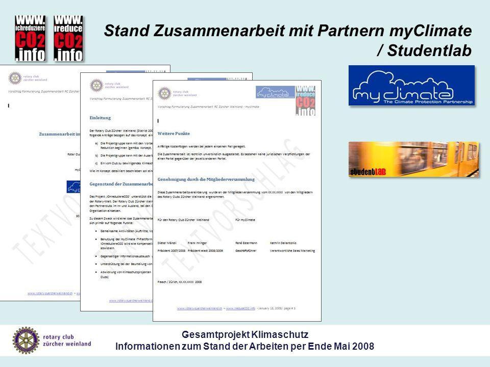 Gesamtprojekt Klimaschutz Informationen zum Stand der Arbeiten per Ende Mai 2008 Stand Zusammenarbeit mit Partnern myClimate / Studentlab