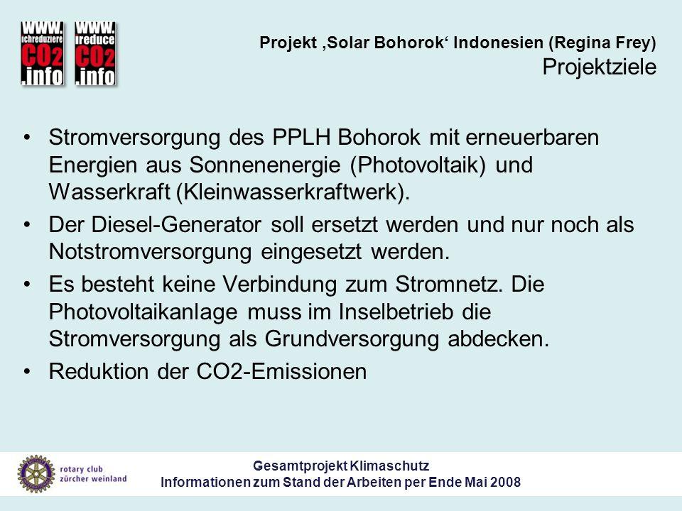 Gesamtprojekt Klimaschutz Informationen zum Stand der Arbeiten per Ende Mai 2008 Projekt Solar Bohorok Indonesien (Regina Frey) Projektziele Stromversorgung des PPLH Bohorok mit erneuerbaren Energien aus Sonnenenergie (Photovoltaik) und Wasserkraft (Kleinwasserkraftwerk).