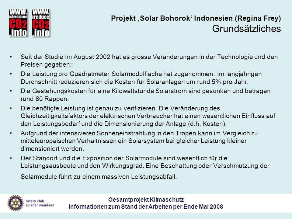 Gesamtprojekt Klimaschutz Informationen zum Stand der Arbeiten per Ende Mai 2008 Projekt Solar Bohorok Indonesien (Regina Frey) Grundsätzliches Seit der Studie im August 2002 hat es grosse Veränderungen in der Technologie und den Preisen gegeben: Die Leistung pro Quadratmeter Solarmodulfläche hat zugenommen.