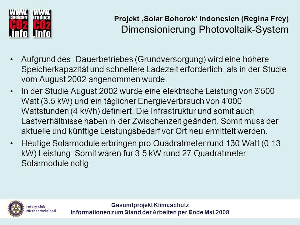 Gesamtprojekt Klimaschutz Informationen zum Stand der Arbeiten per Ende Mai 2008 Projekt Solar Bohorok Indonesien (Regina Frey) Dimensionierung Photovoltaik-System Aufgrund des Dauerbetriebes (Grundversorgung) wird eine höhere Speicherkapazität und schnellere Ladezeit erforderlich, als in der Studie vom August 2002 angenommen wurde.