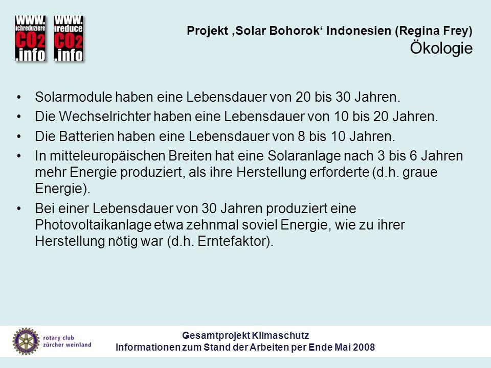 Gesamtprojekt Klimaschutz Informationen zum Stand der Arbeiten per Ende Mai 2008 Projekt Solar Bohorok Indonesien (Regina Frey) Ökologie Solarmodule haben eine Lebensdauer von 20 bis 30 Jahren.