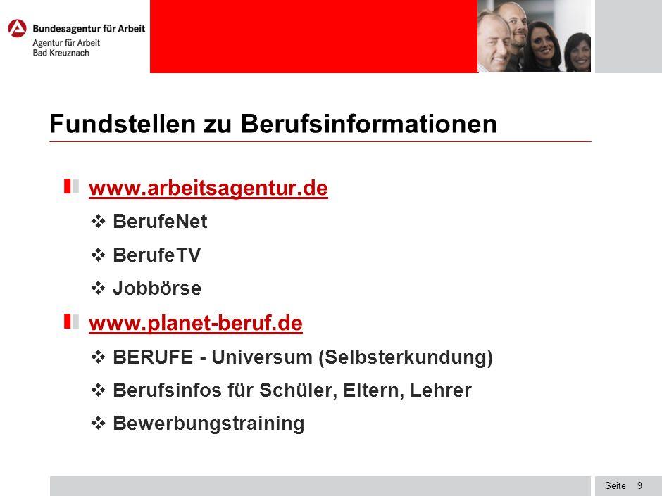 Seite Fundstellen zu Berufsinformationen www.arbeitsagentur.de BerufeNet BerufeTV Jobbörse www.planet-beruf.de BERUFE - Universum (Selbsterkundung) Be