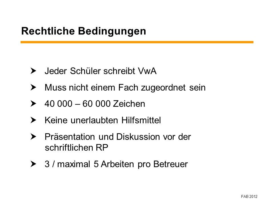 Rechtliche Bedingungen Jeder Schüler schreibt VwA Muss nicht einem Fach zugeordnet sein 40 000 – 60 000 Zeichen Keine unerlaubten Hilfsmittel Präsenta