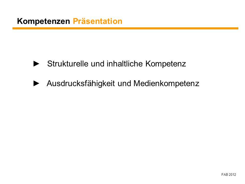 FAB 2012 Kompetenzen Präsentation Strukturelle und inhaltliche Kompetenz Ausdrucksfähigkeit und Medienkompetenz
